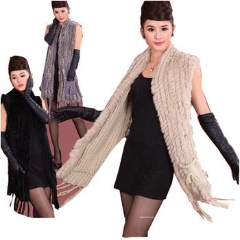 Hot sale fashion fur shawl knitted rabbit shawl with pocket rabbit fur sweater vest poncho wholesale