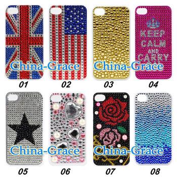 New arrival Diamond Purple Zebra Cover For iPhone 4 4S Mobile Phone Case Accessory 026-TZ