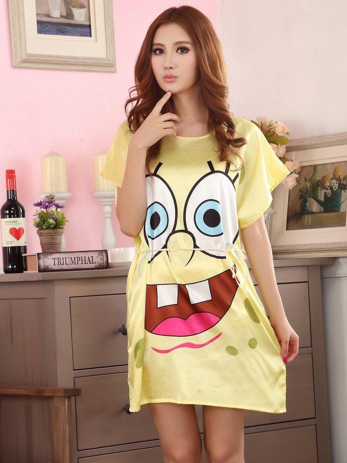 Free Shipping Women Nightgown Printed,Yellow Cute Girls Sleepwear,New Design Summer Ladies' Nightdress,Lounge Silk Nightwear(China (Mainland))