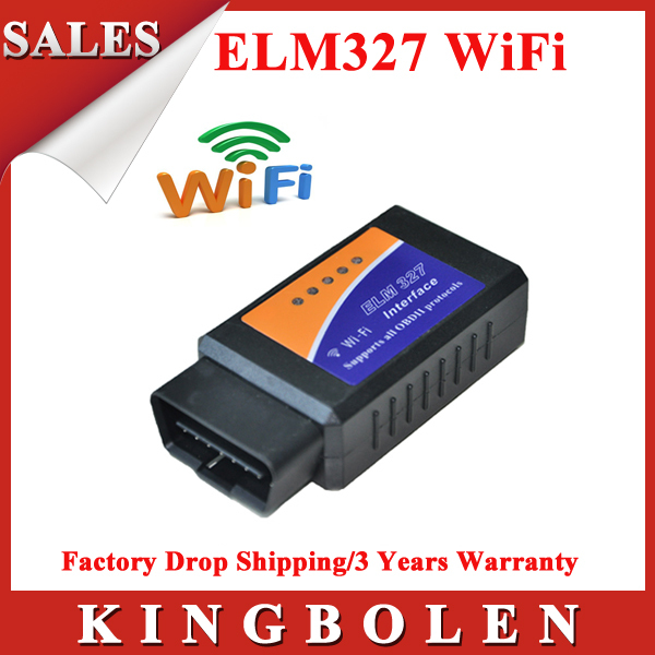 2014 High Quality 2 Years Warranty ELM327 OBD 2 Auto Scan Tool ELM 327 Wifi Supports Android and For iOS ELM327 Free Shipping(China (Mainland))