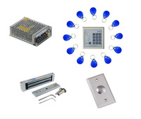 Free shipping ,access control kit ,one EM keypad access control +power+180kg magnetic lock +exit button +10 em card,sn:em-006
