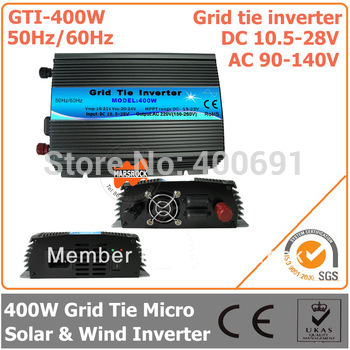 400W DC10.5V~28V AC90V-140V 50Hz/ 60Hz Pure Sine Wave Micro Inverter for 480W PV System Grid tie micro  solar & Wind Inverter