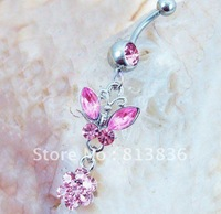 Free shipping 6pcs/lot  Min Order is USD10 Sparkling Flower Rhinestone Butterfly Piercing Belly Rings BJ0052