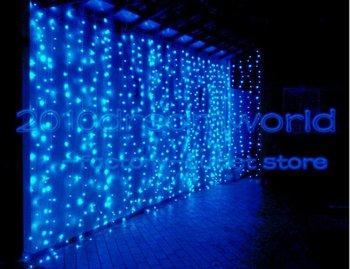 Free Shipping ,6M X 3M, Led Curtain lights String Christmas Wedding White/Warm/Blue/RGB/Pink/ 9 Color UK/AU/US/EU Plug 110/220V