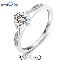 Genuine 925 Classic Sterling Silver Ring Wedding Ring Jewelry CZ Zircon Sterling Silver Rings (JewelOra RI101321)