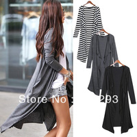 free shipping Women's Cotton long Sleeved stripe Cardigan Drape Collar Long Jackets Top Coat  Black + White Dark Gray Black7639