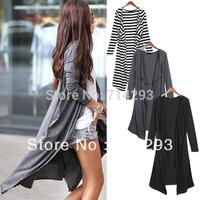 free shipping Women's Cotton long Sleeved stripe Cardigan Drape Collar Long Jackets Top Coat  Black + White Dark Gray Black7639