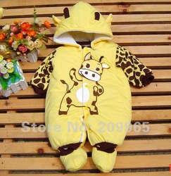 1pc Retail Fashion 2012 Christmas Cow Baby Romper Winter Clothing Warm Cotton-Padded Overalls Jumpsuits Kids Clothes, Free Ship!(China (Mainland))