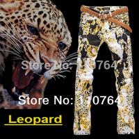 2015 Mens Leopard Printing Jeans Straight Leg Stylish Colored Jeans Pants Men Perfect Street Pants