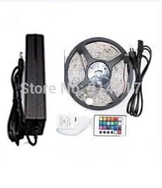 RGB Led Strip Light Waterproof 5M SMD 5050 300 LEDs +24 keys IR Remote+12V 5A Power Adapter