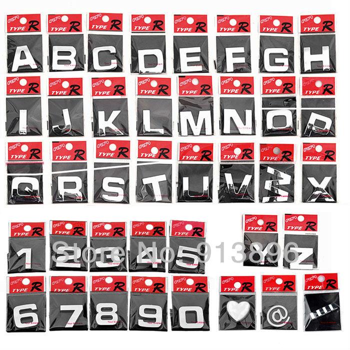Decal number emblem diy decoration alphabet brand car logo in stickers