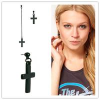ES030  Vintage personality tassel cross 2013 stud earrings for women wholesale charms