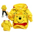 1piece retail smiling yellow Winnie baby boys girls cartoon clothing long sleeve hoodies children's sweatshirts free shipping