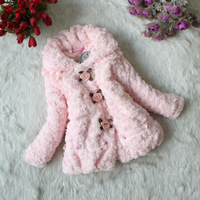 New 2014 Children Outerwear Winter Baby Girls Faux Fur Kids Coats & Jackets Princess Rose Flower Warm Double Breasted Clothing