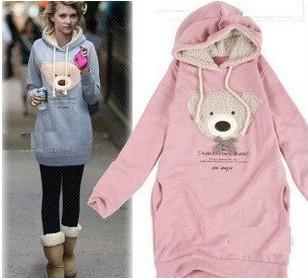 2014 NEW hoodie long top pullover, winter coat,garment coat,women's coat,hoodie Cute teddy bear W4102