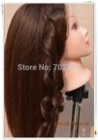 "Free Shipping 22"" training head 65% Human Hair Hairdressing Mannequin Training Head High Quality"