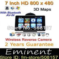 Freeshipping HD7 inch GPS navigation +Car Reverse Camera+ Bluetooth+ AV-IN+128MB RAM/4GB ROM preload 3D map,car gps