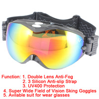 Unisex Snowboard Ski Goggle Double Lens Anti-Fog UV400 Protection CE Snow goggles 3 Silicon Anti-slip Free Shipping