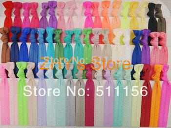 "54colors FOE DHL Free shipping 1600pcs/lot 5/8"" Fold Over Elastic Hair Ties bracelet Ribbon wristbands girl ponytail holder"