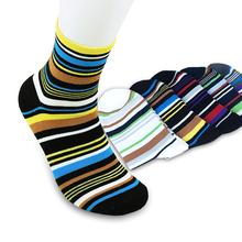 Ee.uu. vendedor marca nuevo otoño 100% algodón elegante rayas multicolor para hombre calcetines deportes hombre calcetin 5 par/lote 6115-1001 entrega rápida(China (Mainland))