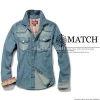 Matchstick brand men's casual denim shirts slim fit men's autumn&spring shirts G351