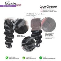 Free Shipping Brazilian Human Hair Lace Top Closure No Shedding No Tangle Bleached Knots Swiss Lace