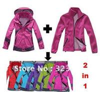 colomb women's Outdoor winter  sport jacket ladies ski jacket  Waterproof breathable windproof 2in1 Outdoor coat free shipping