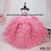 Free Shipping Wedding Dress Party Pink Clothes for Barbie Dolls