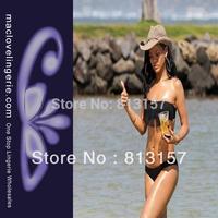 Free Shipping Sexy Lingerie Women Summer Bikini 2014 New  Fashion Black Strapless Bikini Sets Cheaper Price Bikini Swimwear