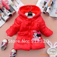 In Stock Promotion Retail1pc girl hoody cartoon coat minnie mouse children outwear warm jacket pink blue red free Shippng.