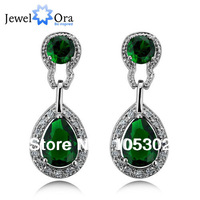 Rhodium Plated Drop Earrings Fashion jewelry Luxurious Green Cubic Zirconia Lady Earrings For Women 2013 #EA010514000009