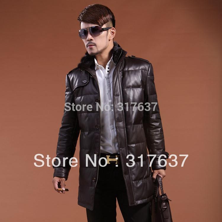2014 New Winter Long Stylish Men's Genuine Sheepskin Leather Jacket Coat Cotton Filling With Detachable Mink Fur Collar 5XL(China (Mainland))