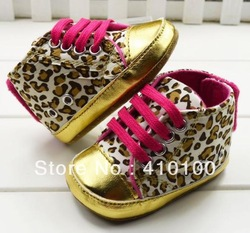 S049 free shipping !leopard Beautiful children's shoe gold leopard Baby Shoes color leopard soft sole baby shoe(China (Mainland))