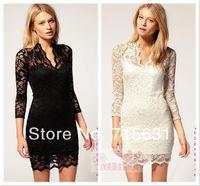 2014 Spring Summer Autumn Black Sexy Women Ladies V-neck Mini Slim Lace Dress, Clubwear 3/4 Sleeve dress black white S M L #9013