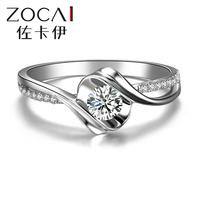"ZOCAI  BRAND ENCOUNTER ""0.5 CARAT EFFECT"" 0.19 CT CERTIFIED ROUND CUT 18K WHITE GOLD I-J / SI DIAMOND ENGAGEMENT RING W02534"
