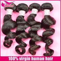 "Brazilian hair extension,LOOSE WAVE,3pcs*12""-30"",free shipping, 100% virgin brazilian human  hair,machine weft, 1b,hair weave"