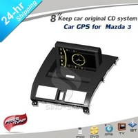 Free ship lastest product 8&quot; Car GPS with BT USB player for Mazda 3 2004-2009 FCC/CE/ROHS certified +4G card map