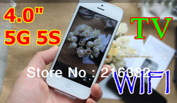 "4.0"" New Phone i5 5GS i5S A5 F8 Unlocked WIFI TV Dual Sim Cards Dual Camera Touch Screen Mobile Phone Cell phone Free shipping(China (Mainland))"