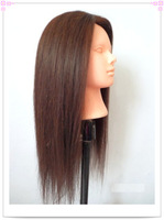 "training mannequin head with hair makeup practice black and brown hair 16"" training head free shipping"