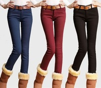 Free Shipping Thickening Pencil Pants 2013 Autumn And Winter Women's Fashion Brand Velvet Pants Legging Boot Cut Jeans Trousers