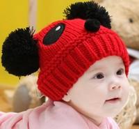 new 2014 autumn winter baby caps children girls hats knitted animal hat newborn beanies panda cap for children, free shipping