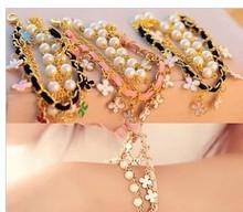 1pcs free shipping 2014 new designer Beautiful leather cord Clover girls handmade bracelet for women