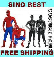Free Shipping Sexy Red Blue Black Spiderman Costumes for Men Children Kids lycra Spandex Halloween Cosplay Unitard Zentai Gifts