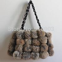 2015 Charming Women's Fashion Brand Chain Clutch,Lovely Girl's Furry Gift Purses,Mini Genuine Natural Rabbit Fur Handbag,SJ012