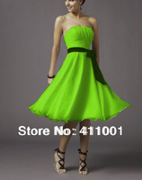 2014 Free Shipping Lime Green A-line Knee-Length Chiffon Evening Dresses in Stock All Sizes
