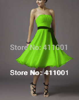 2015 Classic Style Lime Green A-line Knee-Length Chiffon Evening Dresses in Stock All Sizes