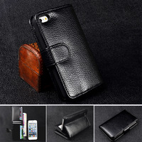 5S Wallet Stand Design PU Leather Business Man Case For iphone 5S 5 5g With 6 Card Holders & Gift Anti-Scratch Screen Protector