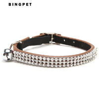 Wholesale 12pcs/lot Real Leather Cat Collar with Bling Crystal Rhinestone Free Shipping