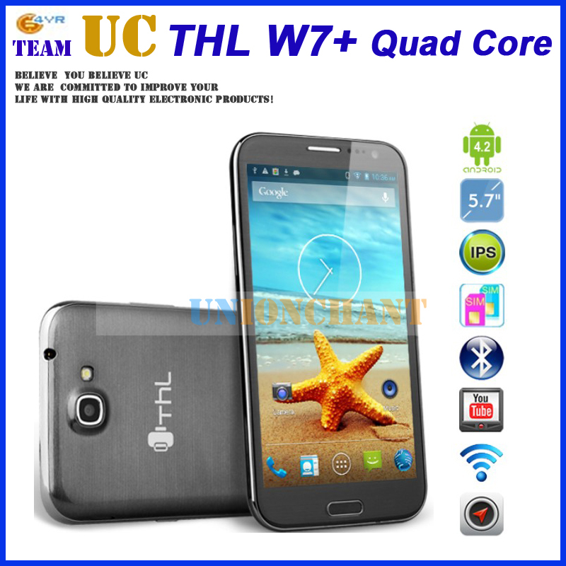 THL W7+ W7 MTK6589 Quad core Smartphone Android 4.2 5.7'' IPS 1280x720 HD Screen 3G WCDMA 1GB RAM 4GB ROM 8mp Camera(China (Mainland))