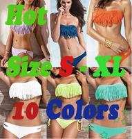 Free shipping ! Sexy Tassel Bikinis Dolly Lady's Padded Boho Fringe Bikini Swimwear Women Swimsuit Beach Wear Sexy Swimsuit